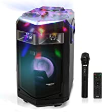 Portable PA Speaker Powered Rechargeable Outdoor Speaker Microphone Set with Mic Talkover MP3 USB SD FM Radio AUX, LED Dj ...