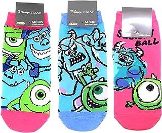 モンスターズ?インク レディースソックス 3柄セット(マイク&サリー ピンク?怖がらせ対決 ブルー?スクイッシーボール) 女性用靴下