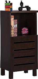 DeckUp Uniti End Table/Storage Cabinet (Dark Wenge, Matte Finish)