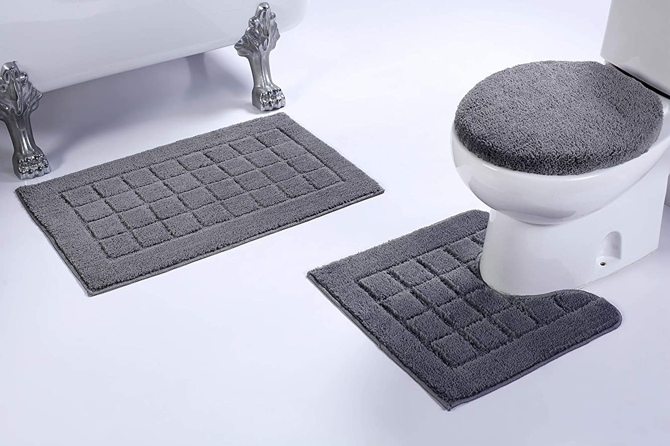 Fancy Linen 3pc Non-Slip Bath Mat Set with Square Pattern Solid Gray Bathroom U-Shaped Contour Rug, Mat and Toilet Lid Cover New # Bath 60