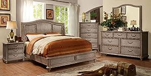 Esofastore Belgrade Collection Master Bedroom Furniture Wooden HB Platform California King Size Bed Rustic Natural Tone Finish w Matching Dresser Mirror Nightstand 4pc Set Modern