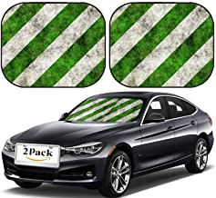 MSD Car Sun Shade Windshield Sunshade Universal Fit 2 Pack, Block Sun Glare, UV and Heat, Protect Car Interior, Design for Background Grass Green Park Plant Road Outdoor Nature Ground Lawn White Tex