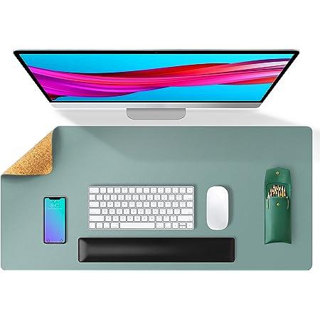 Tapis de bureau double face en cuir et liège naturel Aothia 80 * 40cm, protecteur de bureau en cuir PU lisse/acile à nettoyer/imperméable pour les jeux de bureau/à domicile(Bleu Clair)
