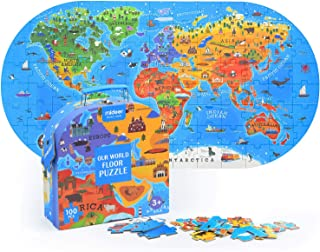Mideer 100Pcs World Map Jigsaw Puzzles for Kids Ages 4-8,Floor Puzzles for Kids Ages 3-5,Toddler Puzzle for Children,Premi...