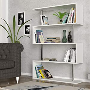 Modern White Bookcase 4-Shelves, Unique Geometric Wide Book Display Shelves, Contemporary Furniture for Living Room, Bedroom and Office, Standing Funky Bookshelves with Metal Wood Frame (White)
