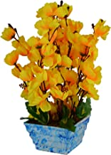 Fancy Mart Artificial Blossom Flower Plant Arrangement in Marble Finish Pot (12 Inch, Yellow)