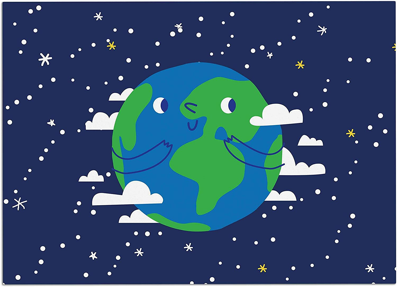 KESS InHouse KIH342ADM02 Kess Original Happy Earth bluee Green Dog Place Mat, 24  x 15