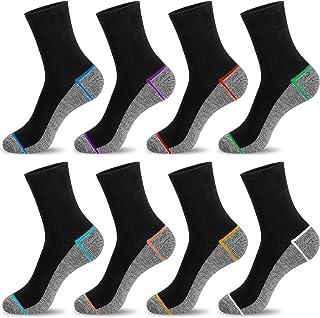Newdora Chaussettes Homme, Chaussettes en Coton,Lot de 8 Paires de Chaussettes de Course Homme, Noir Grey, Taille 37-42/ 4...
