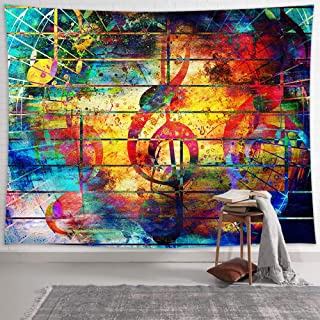 NYMB Music Tapestry Wall Hanging Music Wall Art Decor, Music Note Colorful Woodern Board Tapestries, Musical Wall Tapestry...
