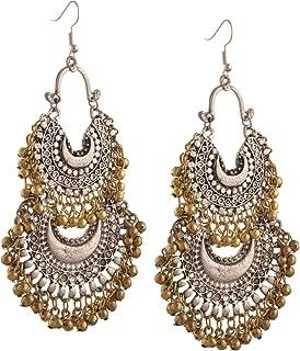 Zephyrr Fashion German Silver Turkish Style Beaded Chandbali Earrings for Women