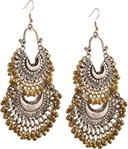 Zephyrr Fashion German Silver Turkish Style Beaded Chandbali Earrings for Women