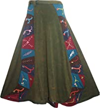 Agan Traders 406 SKT Distressed Women's Gypsy Patch Cotton Bohemian Wrapper Skirt Maxi