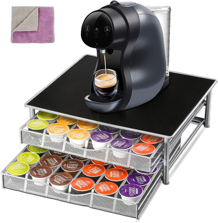 Nespresso 72 Coffee 定番 Capsule Holder Pod Drawe 2-Tier Rack Storage 世界の人気ブランド