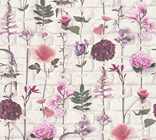 A.S. Création Non-Woven Wallpaper Urban Flowers 10.05 m x 0.53 m Green red Purple Made in Germany 327251 32725-1