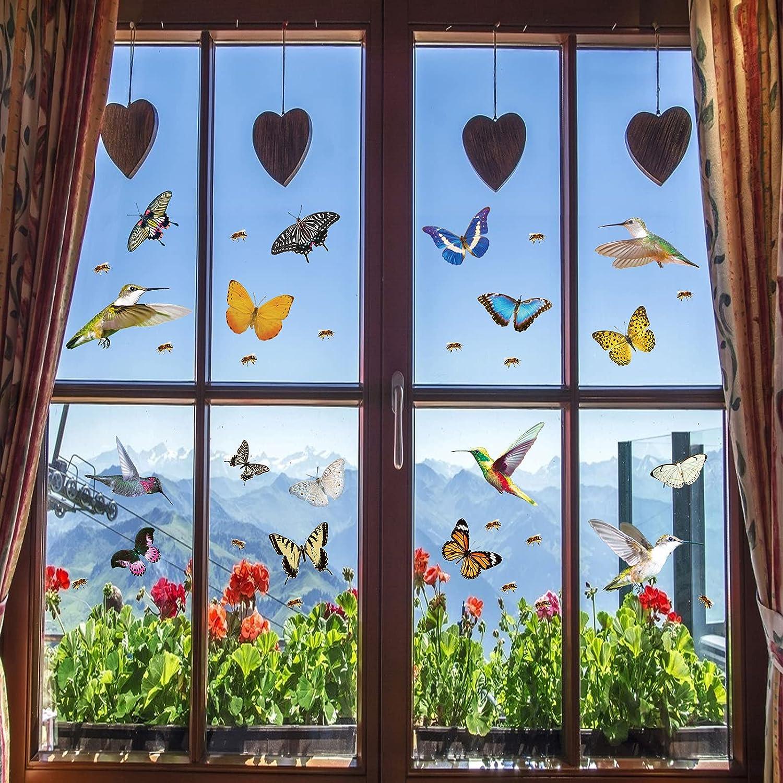 49 Pcs Large Direct stock discount Size Hummingbird Butterfly Clings Hummingbi Window Ranking TOP16