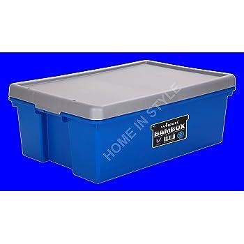 Plástico BamBox Bam caja cajas de almacenamiento de alimentos contenedor Heavy Duty tronco Organizador ordenado con tapa (36L azul/plata): Amazon.es: Hogar