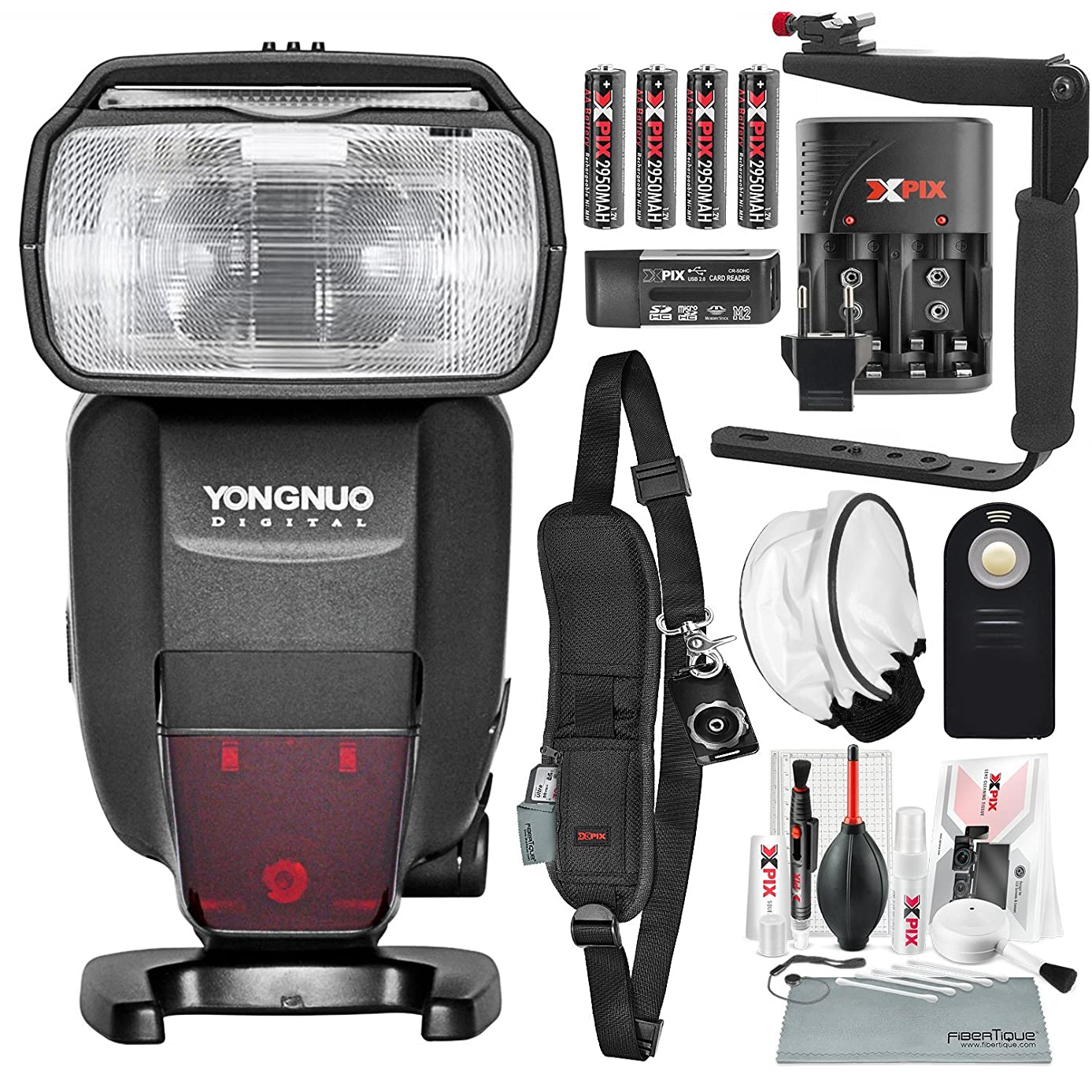 Yongnuo Speedlite YN600EX-RT II for Canon Cameras with Flash Bracket, Diffuser, and DSLR Shoulder Strap, Xpix Cleaning Kit Deluxe Bundle