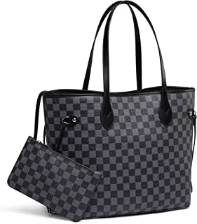 67503182e Daisy Rose Checkered Tote Shoulder Bag with inner pouch - PU Vegan Leather