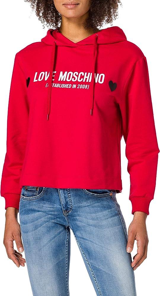 Love moschino soft stretch,felpa per donna con cappuccio,95% cotone, 5% elastan W 6 437 01 E 2180