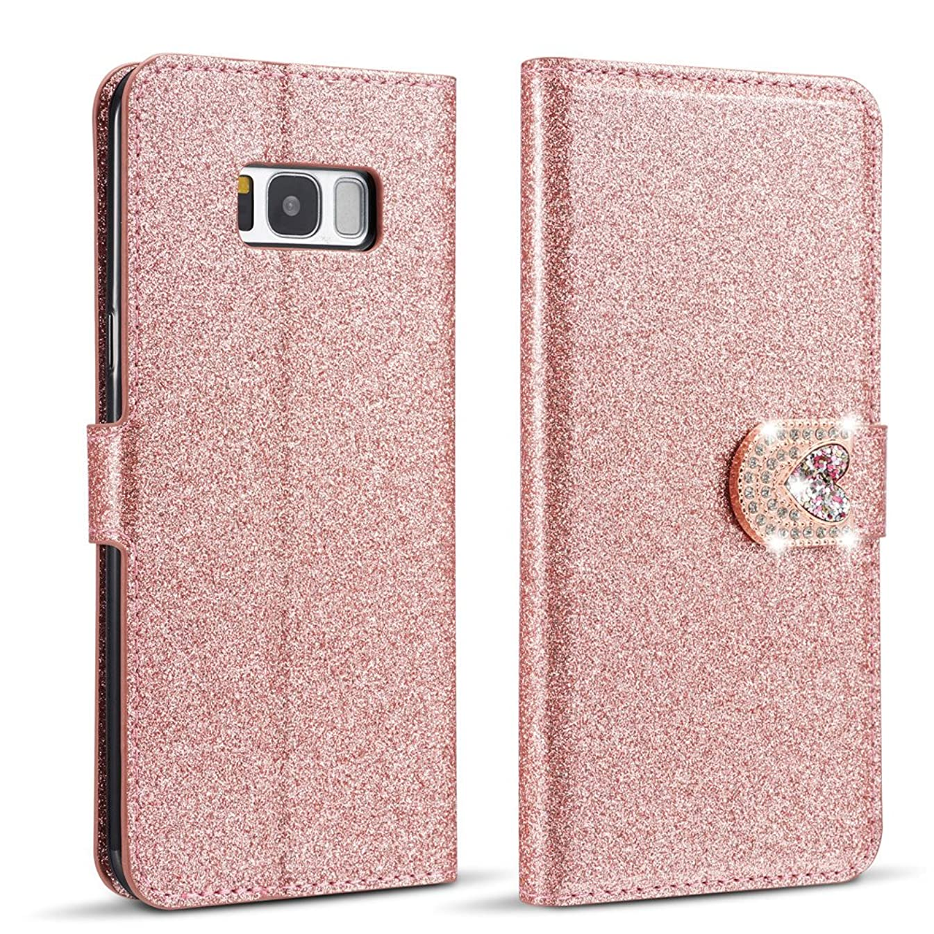 ZCDAYE Bling Glitter [Magnetic Closure] PU Leather Flip Wallet [Love Diamond Buckle] Folio Inner Soft TPU Smooth Finish Stand Cover Case for Samsung Galaxy S8 Plus 6.2 inch - Rose Gold