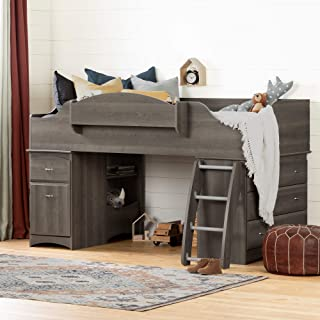 South Shore Imagine Loft Bed-Twin-Gray Maple