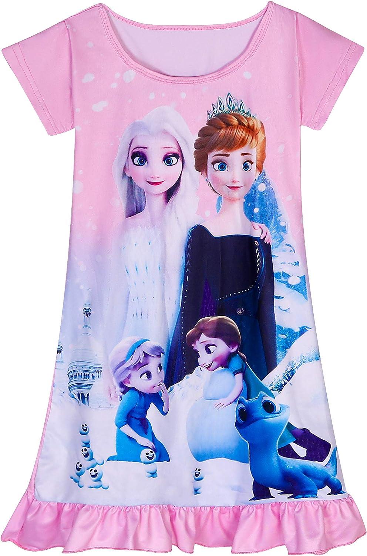 DSL M/ädchen Prinzessin Nachthemden Kurzarm Nachthemd S/ü/ße Nachthemd Nachtw/äsche 3-8Y Pink Blue