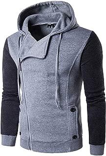 Men's Fashion Color Block Oblique Zipper Lightweight Hood Jacket Casual Windbreaker Hoodie