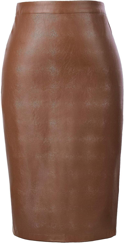 Kate Kasin Women's Faux Leather Pencil Skirt Elegant High Waist Bodycon Skirt Back Split