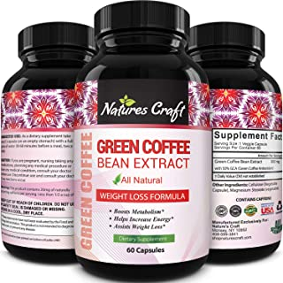 Best Seller Green Coffee Bean Extract for Weight Loss Dietary Supplement Maximum Strength Vitamins No. 1 Antioxidant Incre...