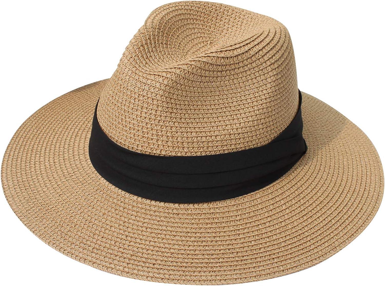 DRESHOW Women Straw Panama Hat Fedora Beach Sun Hat Vintage Headband Wide Brim Straw Roll up Hat UPF 30+