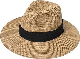 DRESHOW Women Straw Panama Hat Fedora Beach Sun Hat Wide Brim Straw Roll up Hat UPF 50+