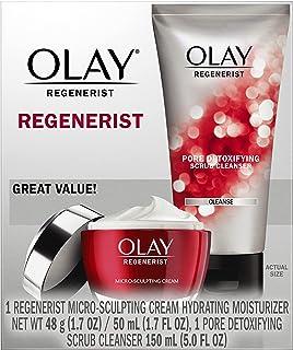Olay Regenerist Advanced Anti-Aging Pore Scrub Cleanser (5.0 Oz) and Micro-Sculpting Face Moisturizer Cream (1.7 Oz) Skin ...