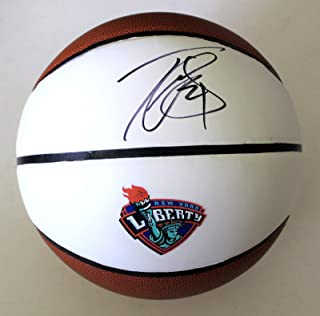 Tina Charles Signed New York Liberty Full Size Basketball w/COA WNBA - Autographed WNBA Basketballs