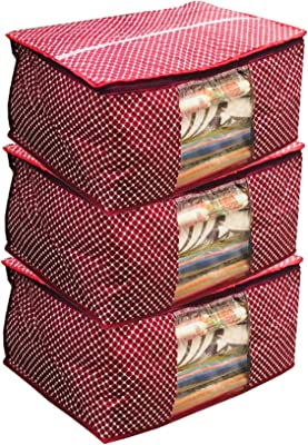 Kuber Industries™ Cotton Quilted Saree Cover Set of 3 Pcs (Maroon)