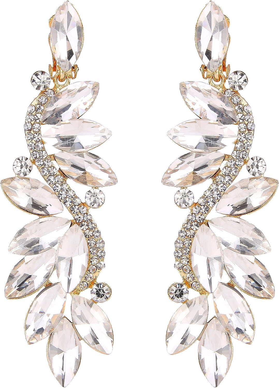 BriLove Women's Wedding Bridal Crystal Multi Marquise Filigree Flower Chandelier Clip-On Dangle Earrings
