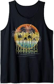 Maui Hawaii Shirt Vintage Hawaiian Sunset Vacation Gift Tank Top
