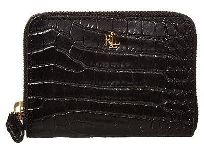 LAUREN Ralph Lauren Mini Croc Embossed Small Zip Wallet (Black) Handbags
