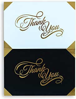 100 Thank You Cards with Envelopes & Sealing Stickers - Bulk Set of Black & White Notes with Gold Foil - Blank Inside - Perfect 4x6 Inch Notes for Weddings, Business/Professional use, Graduations