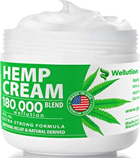 Hemp Cream 180,000 Blend – All-Natural Seed Oil Extract for Knee, Lower Back, Feet, Wrist and Joint Pain Relief - Extra St...