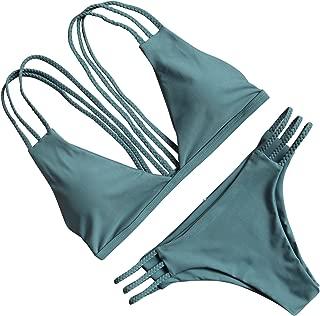 Women Halter Fashion Sexy Swimwear 2 Pieces Swimsuit Bikini Set with Small Strap
