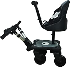 Englacha 2-in-1 Cozy 4-Wheel Rider, Black - Child Rider Stroller Attachment with Saddle Seat and Standing Platform - Universal Fit for Most Prams - Quick and Easy to Use - Designed for Safety