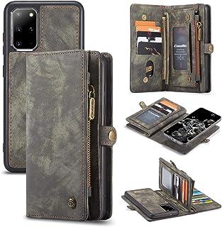 AKHVRS Galaxy S20 Wallet Case, Handmade Premium Cowhide Leather Wallet Case,Zipper Wallet Case [Magnetic Closure] Detachable Magnetic Case & Card Slots for Samsung Galaxy S20 (Black)