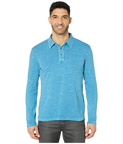 Mod-o-doc Salt Point Long Sleeve Slub Jersey Polo (Blue Blood) Men