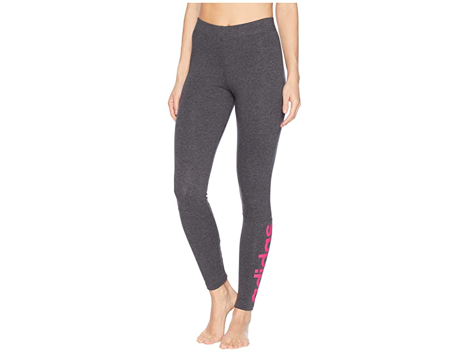 adidas Essentials Linear Tights (Dark Grey Heather/Real Magenta) Women