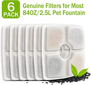 PG.KINWANG Pet Fountain Filters Replacement for 84oz/2.5L Automatic Pet Fountain Cat Water Fountain Dog Water Dispenser,  Ion Exchange Resin and Coconut Activated Carbon, Pack of 6