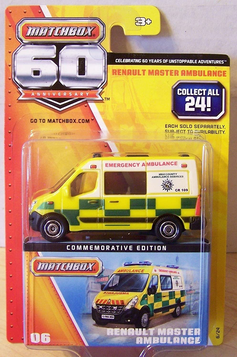 2013 Matchbox 60th Anniversary Renault Master Ambulance Gelb  6 24 by Mattel