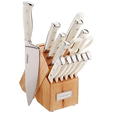 Cuisinart C77WTR-15P Triple Rivet Collection 15-Piece Cutlery Block Set, White