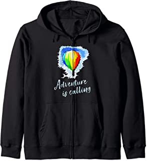 Adventure Is Calling Hot Air Balloon Quote Zip Hoodie