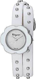 Salvatore Ferragamo Women`s Fiore Stainless Steel Quartz Watch with Leather Calfskin Strap, White, 8 (Model: SFCS00118)