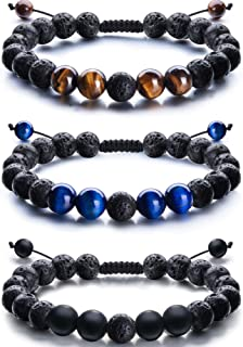 Adjustable Lava Rock Stone Essential Oil Diffuser Bracelet Braided Rope Stone Yoga Beads Bracelets for Men Women